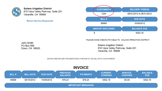 Online Payment Instructions Solano Irrigation District CA - Example of an invoice for payment