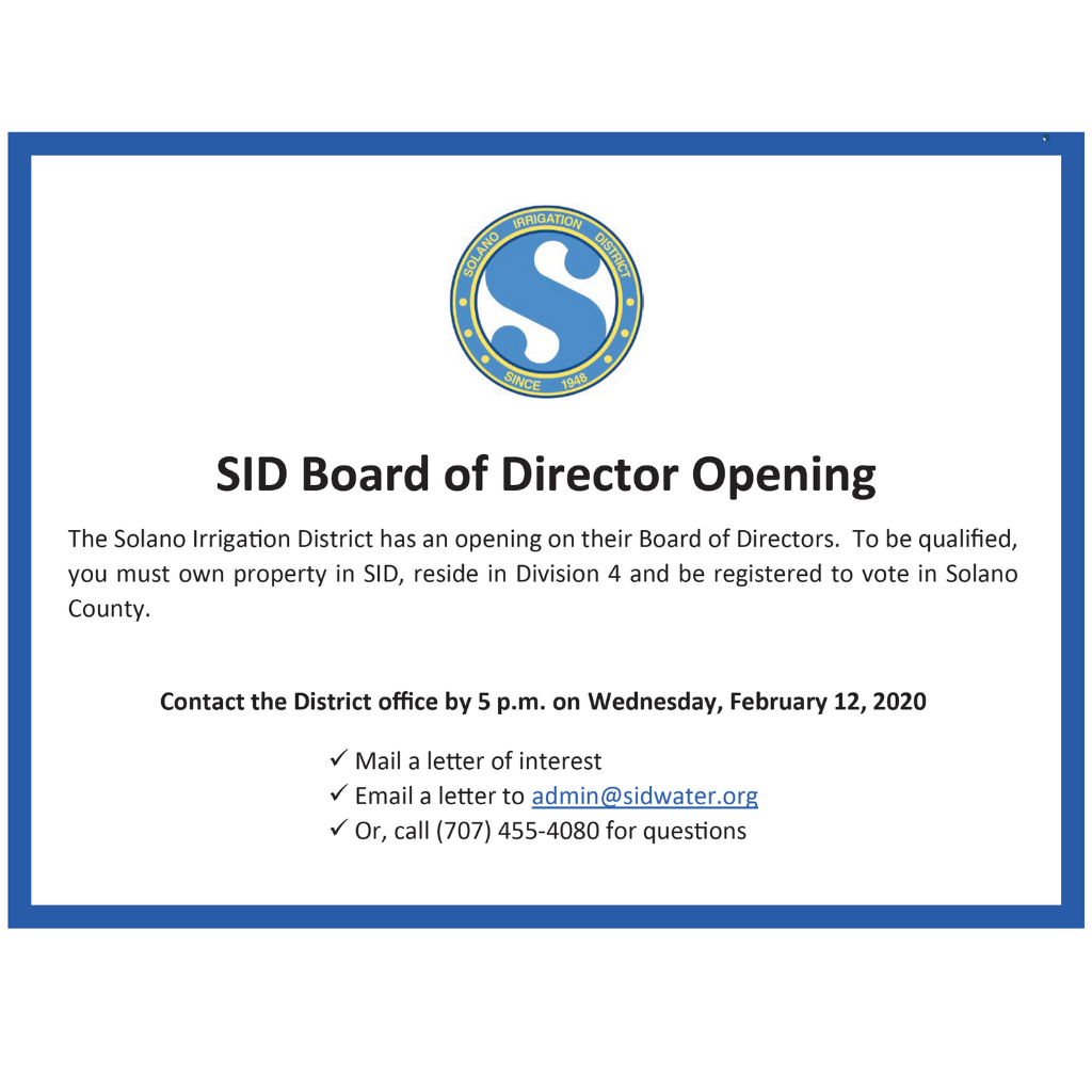 Board of Director Opening Announcement