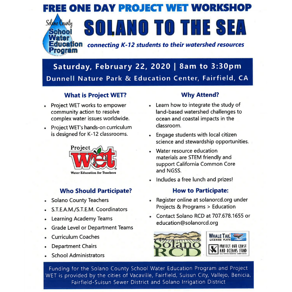 Solano to the Sea flyer announcing a one day Project Wet workshop.